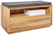 GARDEROBENBANK Wildeiche massiv Grau, Eichefarben - Eichefarben/Grau, MODERN, Holz/Textil (90/45/42cm) - Valnatura