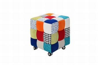 TABURE tekstil večbarvno - črna/večbarvno, Moderno, kovina/umetna masa (43/48/43cm) - HOM`IN