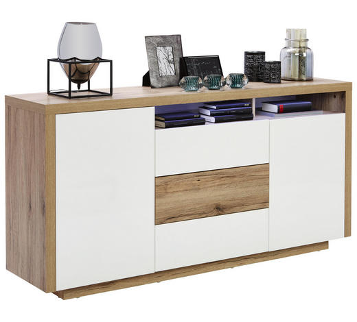 KOMODA, bílá, barvy dubu - bílá/barvy dubu, Konvenční, kompozitní dřevo (160/81/40cm) - Carryhome