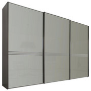SCHWEBETÜRENSCHRANK in Anthrazit, Grau - Anthrazit/Grau, Design, Glas/Holzwerkstoff (249/222/68cm) - Moderano