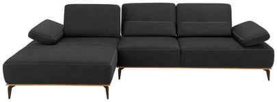 WOHNLANDSCHAFT Dunkelgrau Flachgewebe  - Dunkelgrau/Beige, Design, Textil/Metall (178/298cm) - Valnatura