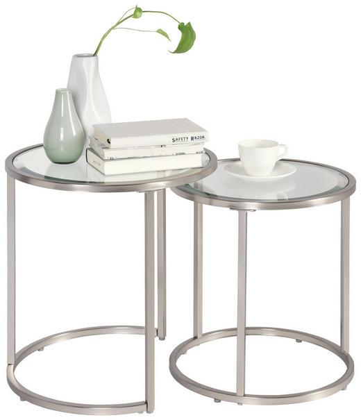 SATZTISCH in Silberfarben - Silberfarben, Design, Glas/Metall (46/41/48/43/46/41cm) - Xora