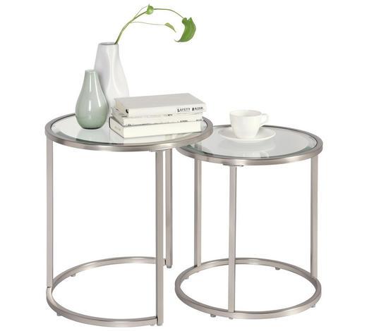 SATZTISCH rund Silberfarben  - Silberfarben, Design, Glas/Metall (46/41/48/43/46/41cm) - Xora
