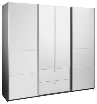 KLEIDERSCHRANK 4  -türig Grau, Weiß - Alufarben/Weiß, Design, Holzwerkstoff/Metall (226/210/62cm) - TI`ME