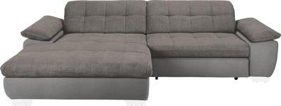 WOHNLANDSCHAFT in Textil Grau, Hellbraun  - Chromfarben/Hellbraun, Design, Textil/Metall (180/265cm) - Carryhome