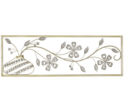 DEKORACE NÁSTĚNNÁ, 99/4/33 cm - barvy stříbra/barvy zlata, Konvenční, kov (99/4/33cm) - Ambia Home