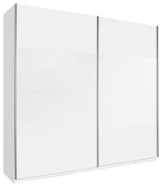 SCHWEBETÜRENSCHRANK 2-türig Weiß - Alufarben/Weiß, Design, Holzwerkstoff/Metall (136/236/69cm) - Carryhome