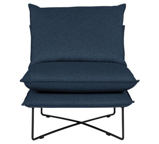 SESSEL in Textil Blau - Blau/Schwarz, Design, Textil/Metall (72/84/90cm) - Hom`in