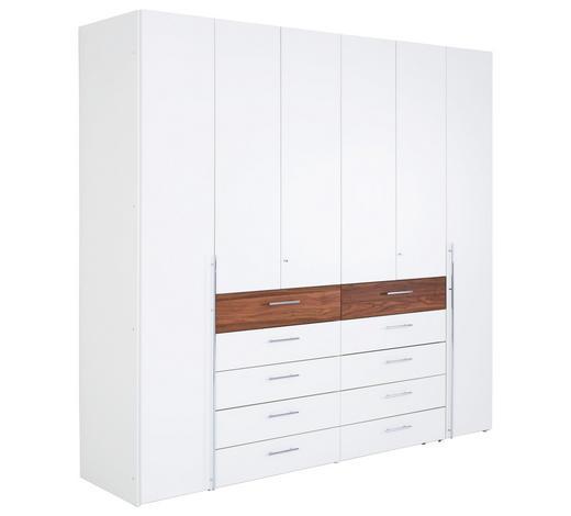 DREHTÜRENSCHRANK in furniert Kernnussbaum Weiß, Nussbaumfarben - Chromfarben/Nussbaumfarben, KONVENTIONELL, Holz/Holzwerkstoff (302/229,6/61cm) - Hülsta