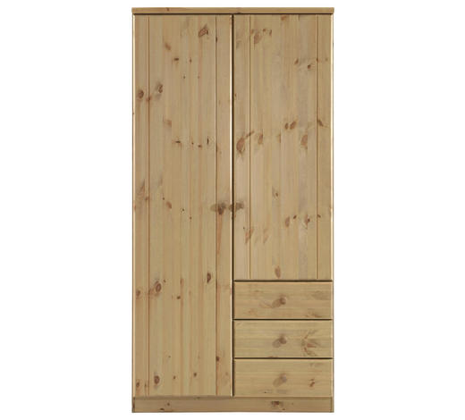 DREHTÜRENSCHRANK 2-türig Kiefer massiv Naturfarben  - Naturfarben, LIFESTYLE, Holz (101/202/60cm) - Carryhome