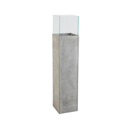 DEKOSÄULE - Grau, Glas/Stein (25/25/120cm)