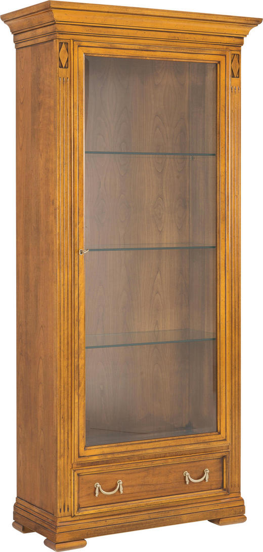 VITRINE Kirschbaum, Linde furniert, massiv Kirschbaumfarben - Kirschbaumfarben/Goldfarben, LIFESTYLE, Glas/Holz (43/200/122cm) - Selva