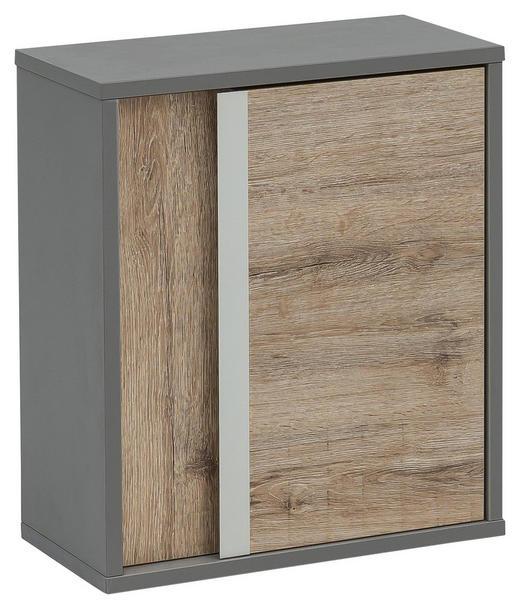 OBERSCHRANK Eichefarben - Eichefarben/Alufarben, Design, Holzwerkstoff/Metall (40,5/48,5/20,5cm) - Stylife