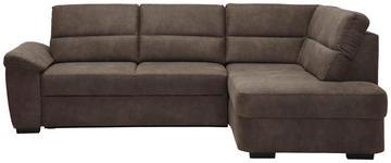 WOHNLANDSCHAFT Lederlook Rücken echt - Dunkelbraun, KONVENTIONELL, Kunststoff/Textil (251/193cm) - Cantus