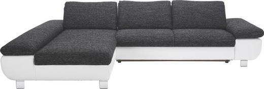 WOHNLANDSCHAFT Grau, Weiß - Chromfarben/Weiß, Design, Textil/Metall (203/313cm) - Venda
