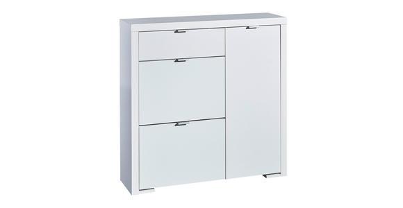 SCHUHSCHRANK - Silberfarben/Weiß, Design, Holzwerkstoff/Metall (102/101/28cm) - Voleo
