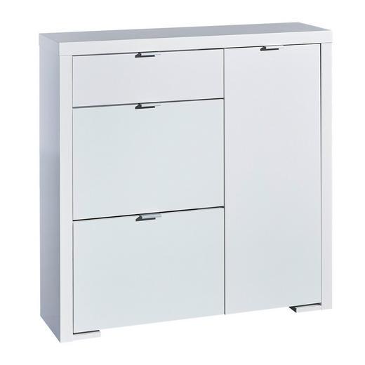 SCHUHSCHRANK Hochglanz, lackiert Weiß - Silberfarben/Weiß, Design, Holzwerkstoff/Metall (102/101/28cm) - Voleo