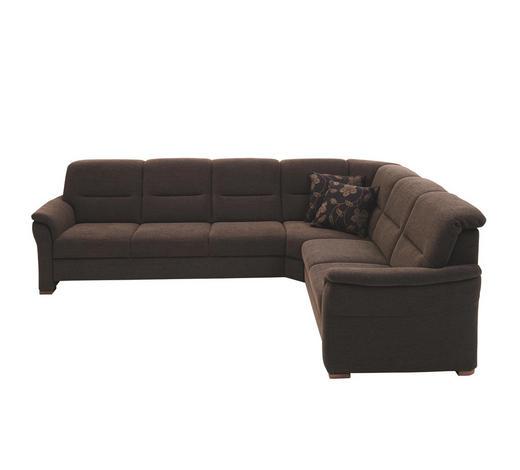 WOHNLANDSCHAFT in Textil Braun - Nussbaumfarben/Braun, KONVENTIONELL, Holz/Textil (304/246cm) - Beldomo Comfort