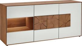 SIDEBOARD in vollmassiv Kerneiche Eichefarben, Weiß - Eichefarben/Weiß, Natur, Glas/Holz (175/80,5/49cm) - VALNATURA