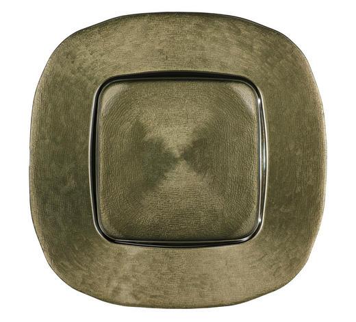 PLATZTELLER 34/34 cm - Olivgrün, Design, Glas (34/34cm) - Novel