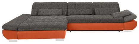 WOHNLANDSCHAFT in Textil Braun, Orange  - Chromfarben/Braun, Design, Kunststoff/Textil (204/341cm) - Xora