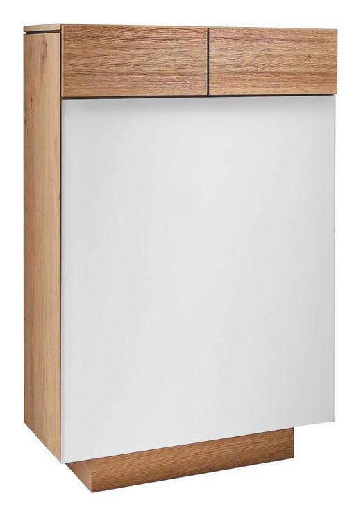 SCHUHSCHRANK Wildeiche massiv geölt Eichefarben, Weiß - Eichefarben/Weiß, Design, Glas/Holz (64/106/42,5cm) - Voglauer