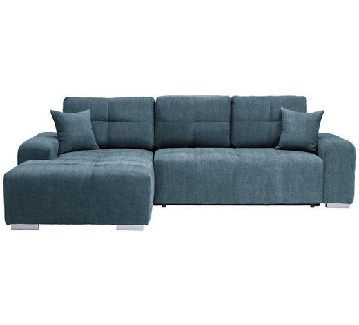 WOHNLANDSCHAFT in Textil Türkis - Türkis/Silberfarben, MODERN, Kunststoff/Textil (194/280cm) - Carryhome