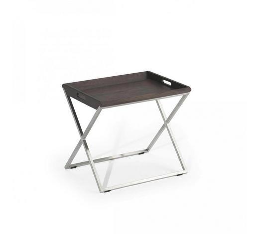 ODKLÁDACÍ STOLEK - barvy dubu/barvy hliníku, Design, kov/dřevo (40/50/45cm) - Natuzzi