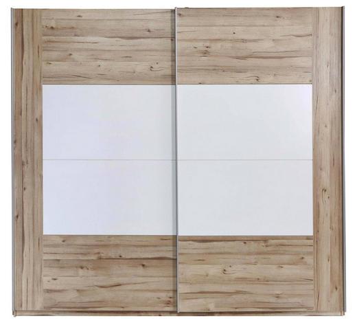 SCHWEBETÜRENSCHRANK in Weiß, Eichefarben - Eichefarben/Alufarben, Design, Holzwerkstoff/Metall (220,1/209,7/61,2cm) - Ti`me