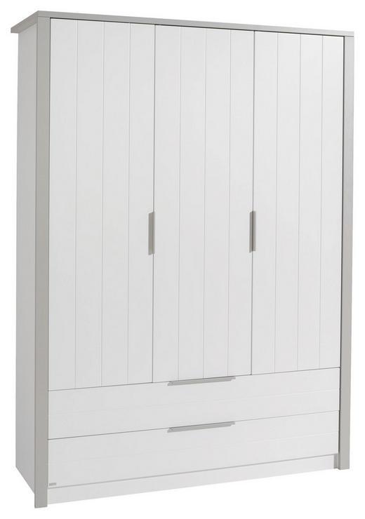 KLEIDERSCHRANK 3-türig Grau, Weiß - Silberfarben/Weiß, Design, Holzwerkstoff/Metall (148,5/202,8/56,2cm) - Paidi