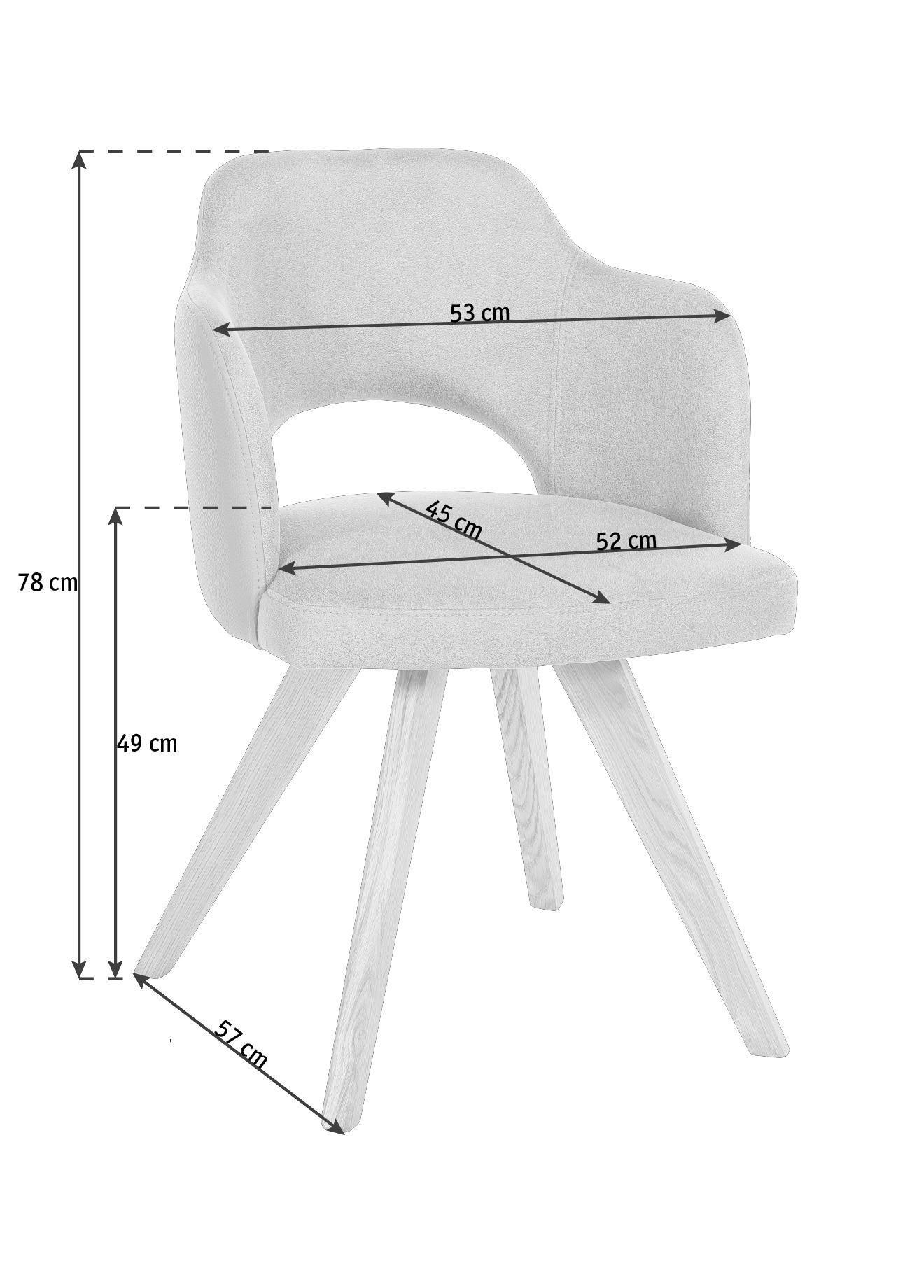STUHL in Holz, Textil Eichefarben, Taupe - Taupe/Eichefarben, KONVENTIONELL, Holz/Textil (53/78/57cm) - VOLEO