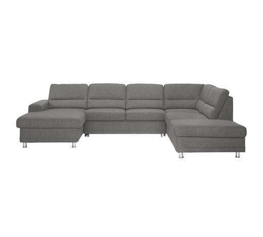 WOHNLANDSCHAFT Grau Webstoff  - Silberfarben/Grau, KONVENTIONELL, Textil/Metall (166/311/234cm) - Beldomo System