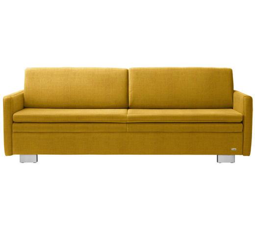 SCHLAFSOFA in Textil Gelb - Gelb, KONVENTIONELL, Textil/Metall (216/84/92cm) - Sedda