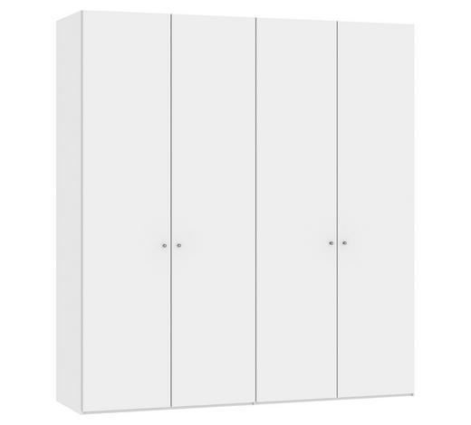 DREHTÜRENSCHRANK in Weiß - Silberfarben/Weiß, Design, Glas/Holzwerkstoff (202,5/220/58,5cm) - Jutzler