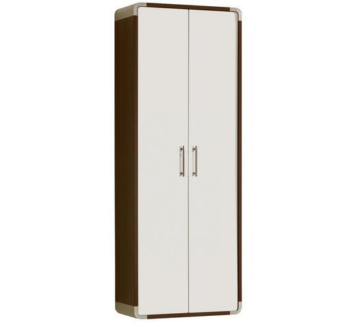 GARDEROBENSCHRANK Hochglanz Weiß, Wengefarben  - Wengefarben/Alufarben, Design, Metall (60/164/32cm) - Moderano
