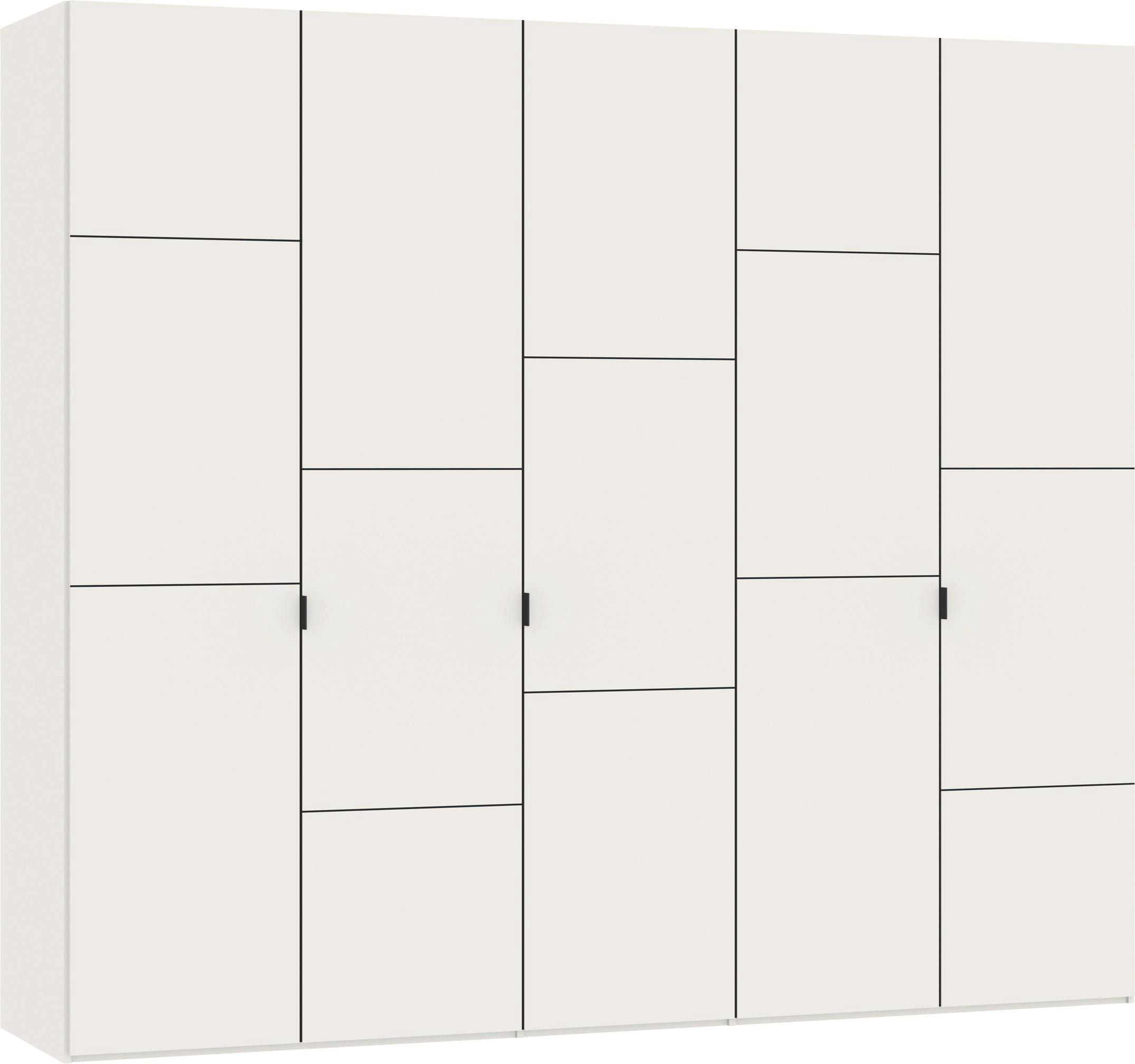 DREHTÜRENSCHRANK 5  -türig Weiß - Silberfarben/Weiß, Design, Holzwerkstoff/Metall (252,8/220/59cm) - JUTZLER