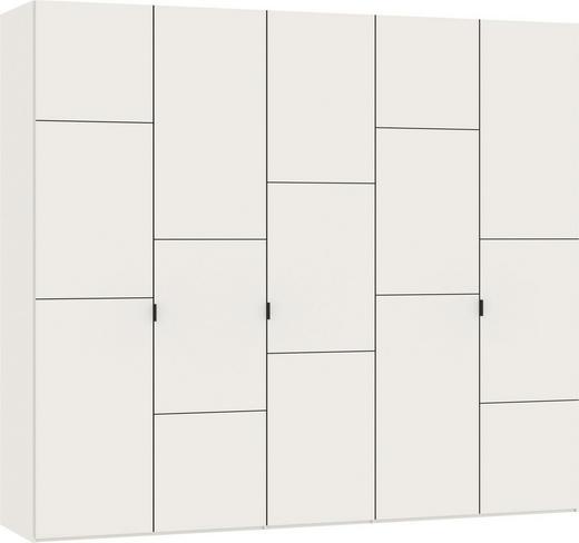 DREHTÜRENSCHRANK 5-türig Weiß - Silberfarben/Weiß, Design, Holzwerkstoff/Metall (252,8/220/59cm) - Jutzler