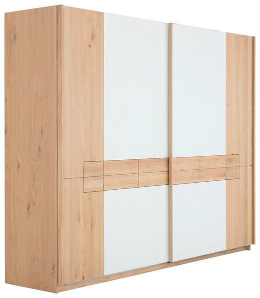 SCHWEBETÜRENSCHRANK 2-türig Wildeiche massiv, mehrschichtige Massivholzplatte (Tischlerplatte) Eichefarben, Weiß - Eichefarben/Weiß, Design, Glas/Holz (295,4/226/73cm) - Voglauer