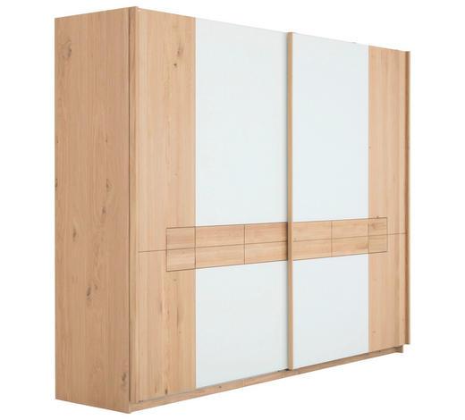 SCHWEBETÜRENSCHRANK in massiv, mehrschichtige Massivholzplatte (Tischlerplatte) Wildeiche Weiß, Eichefarben - Eichefarben/Weiß, Natur, Glas/Holz (322/226/71cm) - Voglauer