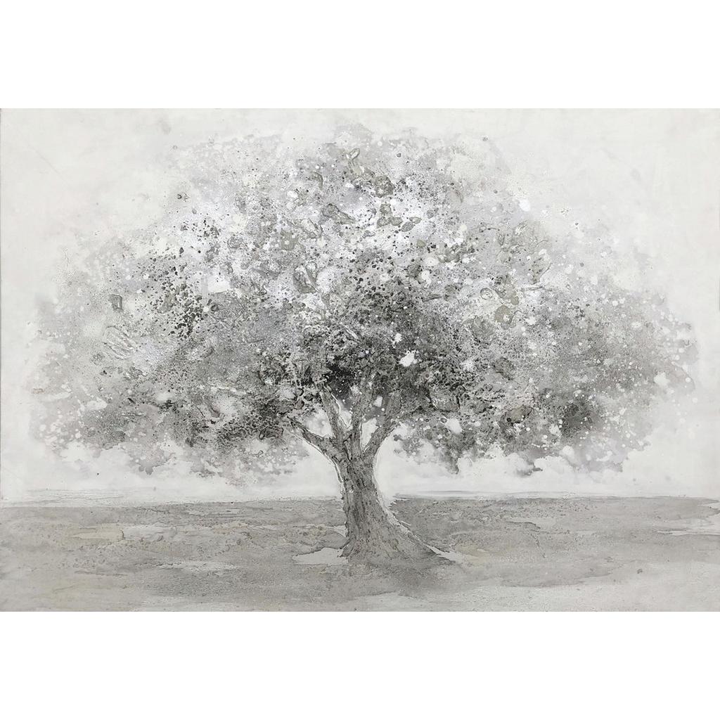 Monee Ölgemälde , Grau, Weiß , Holz, Textil , Pinie , Hartholz , rechteckig , 100x70 cm , handgemalt , Bilder, Ölgemälde