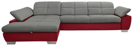 WOHNLANDSCHAFT in Textil Grau, Rot - Chromfarben/Rot, Design, Textil/Metall (204/297cm) - Xora