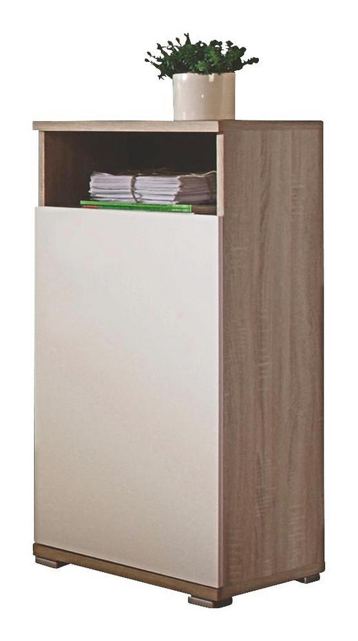 KOMMODE Sonoma Eiche, Weiß - Alufarben/Weiß, Design, Holzwerkstoff/Kunststoff (45/98/38cm) - Carryhome