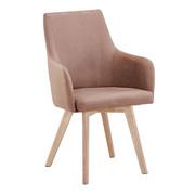ARMLEHNSTUHL Webstoff Kautschukholz massiv Braun, Naturfarben  - Braun/Naturfarben, Design, Holz/Textil (56/92/56cm) - Carryhome