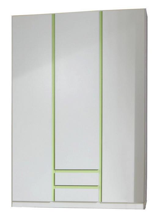 KLEIDERSCHRANK 3  -türig Grün, Weiß - Weiß/Grün, Design, Holzwerkstoff (135/197/58cm) - Carryhome
