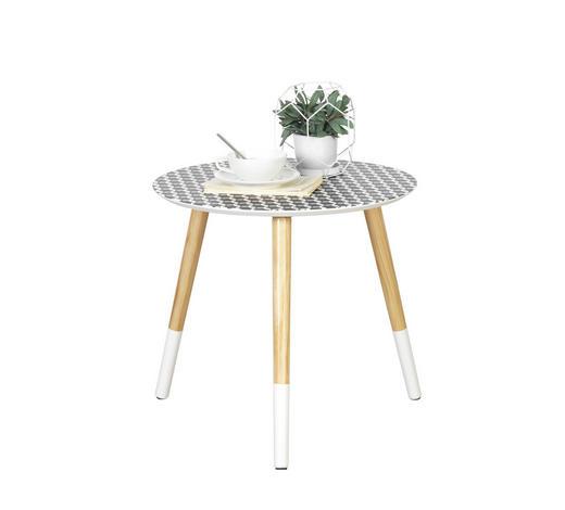 BEISTELLTISCH in Naturfarben, Schwarz, Weiß - Schwarz/Naturfarben, Design, Holz (48/45cm) - Carryhome