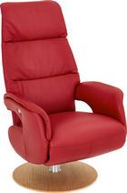 RELAXAČNÍ KŘESLO - barvy dubu/červená, Design, dřevo/kůže (72/115/79cm) - Welnova