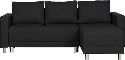 WOHNLANDSCHAFT Webstoff Bettkasten, Rücken echt, Rückenkissen, Schlaffunktion, Stauraum - Silberfarben/Schwarz, Design, Kunststoff/Textil (215/145cm) - Carryhome