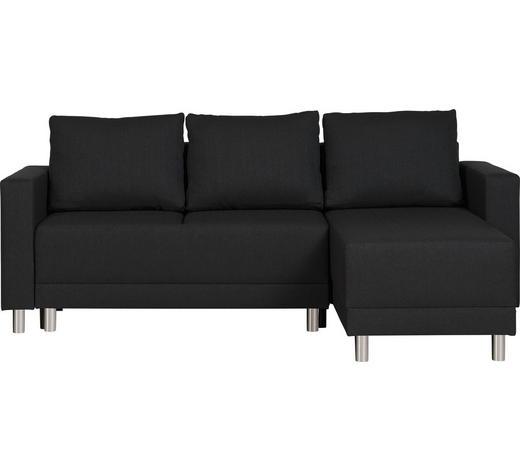 WOHNLANDSCHAFT in Textil Schwarz  - Silberfarben/Schwarz, Design, Kunststoff/Textil (215/145cm) - Carryhome