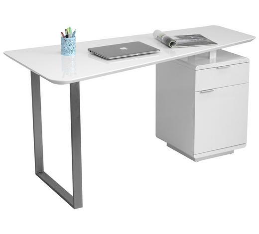 Schreibtisch futuristisch  SCHREIBTISCH Weiß, Edelstahlfarben