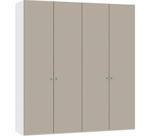 DREHTÜRENSCHRANK in Weiß, Sandfarben - Sandfarben/Silberfarben, Design, Glas/Holzwerkstoff (202,5/220/37,5cm) - Jutzler